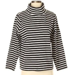 J. Crew, sz S Black/Cream Striped Mockneck